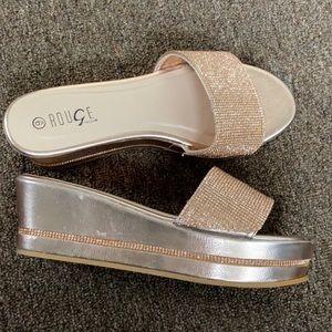 Rose Gold Rhinestone Sandals 👡